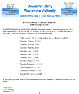 Downriver Utility Wastewater Authority 2018 Meeting Schedule