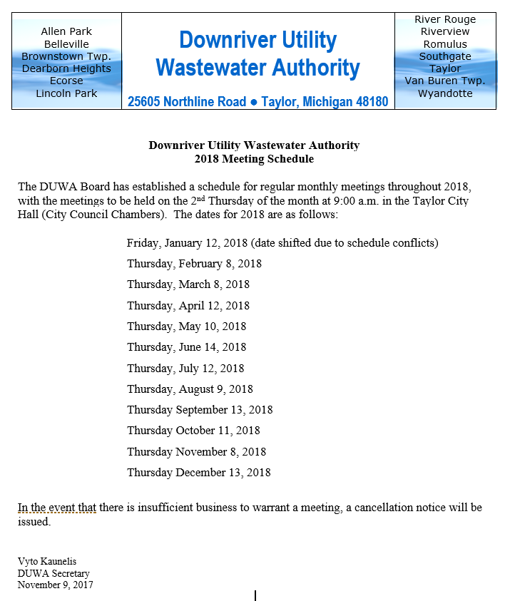 DUWA 2018 Meeting Schedule – Downriver Utility Wastewater Authority